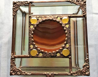 Stained Glass Box|Jewelry Box|Glass Art Box With Agate|Rust Colored Agate|Beveled Glass|OOAK|Jewelry|Jewelry Storage|Handcrafted|Made in USA