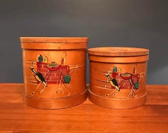Vintage Wood Kitchen Containers Set of 2