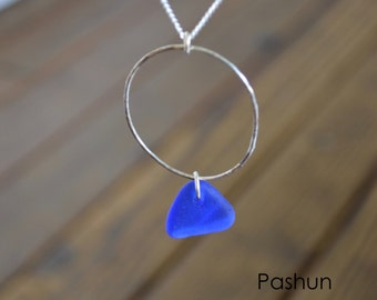 Seashell Jewelry ...Blue Sea Glass and Sterling Silver Hoop Necklace (1456)