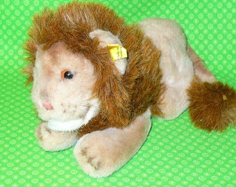 """SIGNED Steiff Vintage LEO LION Plush Stuffed Animal 7.5"""" long 0812/13 Rare and Hard to Find 1970s"""