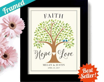 Unique Engagement Gift Faith Hope Love Spiritual Wedding Christian Gift Personalized Unique Wedding Tree Framed Art Print Anniversary Gift