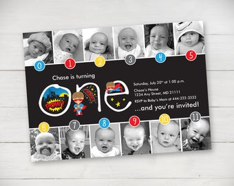 Super Hero Timeline First Birthday Invitation