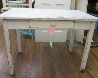 Shabby Farmhouse Table Kitchen Primitive Prairie BOHO Bohemian Legs Detach