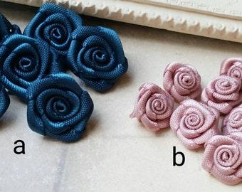 9 / 14  mm Grosgrain Tiny Rose Flower  (.si)(.sg)