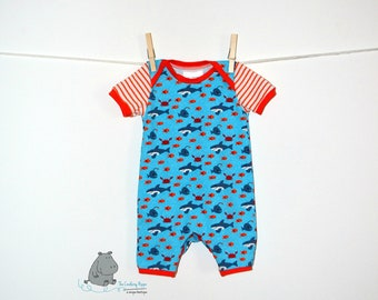 Baby Shark Romper, Baby Boy Clothes, Gender Neutral Baby Romper, Infant Romper, Hip Baby Clothes, CPSC Compliant, made by The Corduroy Hippo