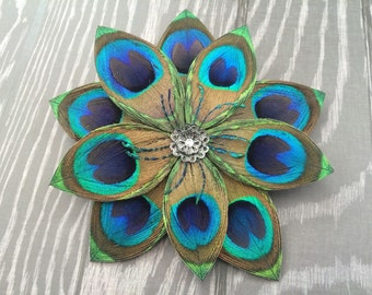 Large Peacock Feather Flower clip with a rhinestone
