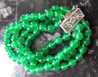 Apple Colored Jade Multi Strand Bracelet With Silver Clasp