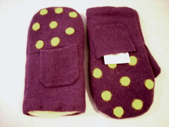Purple and Yellow Felted Wool Sweater Mittens with Pockets