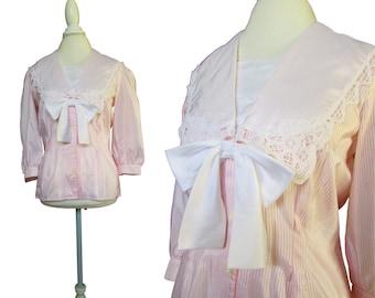 Vintage Sailor Blouse // Pink White Striped Blouse // Pink Sailor Blouse // Vintage 80s Blouse / Med