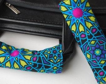 Luggage Handle Wrap Set of 2, Kaleidoscope pattern on black background