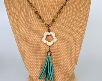 Turquoise Leather Tassel and Howlite Flower Y Style Necklace, Bronze Bead Chain and Curb Chain, Gift Boxed
