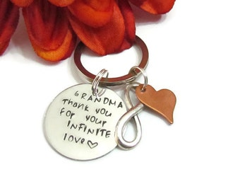 Thank you Grandma Keychain//Birthday Gift//Mothers Day Gifts//Love from Bride//Gifts for Granny//key chain for Grammy//Grandmother gifts