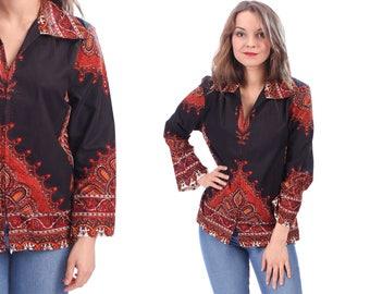 Retro Dashiki Shirt Jacket 70s Vintage Boho Bell Sleeves Ethnic Print Black Red Brown Hippie Bohemian Festival Distressed . Medium
