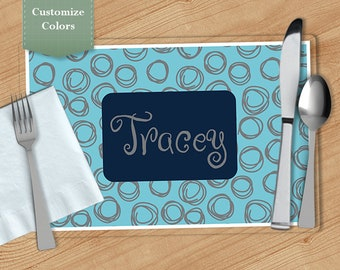 Swirl -  Personalized Placemat, Customized Placemats, Custom Placemat, Personalized Gift