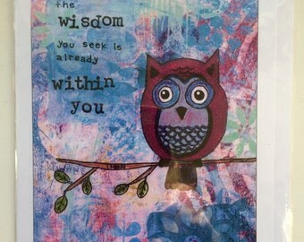 The Wisdom You Seek Is Already Within You - A5 Blank Greetings Card From Original Mixed Media