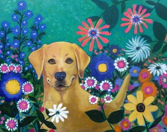HAPPY- 28 x 22 Colorful Dog Valentine ORIGINAL Painting by Carrie Tasman