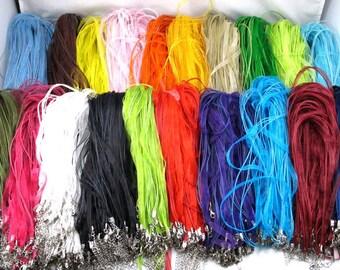 10 Random Mixed Color Organza Necklaces ribbon extender chain DIY pendants