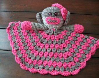Crocheted Sock Monkey Lovey     Bright Pink and Dark Gray