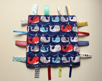 Red white and blue whales Tag Blanket with your choice of Minky //  In Stock, READY TO SHIP