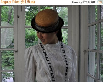 WELCOME SPRING SALE Adorable Straw Mini Hat/Vintage 1930s 1940s/Narrow Brim Summer Hat/Velvet, Striped Ribbon, Net and Feather Trim