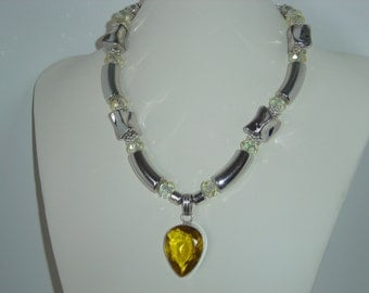 Yellow Topaz Gemstone Crystal and Silver necklace