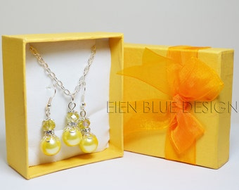 Yellow Pearl Necklace and Earrings set, Yellow Pearl Jewelry, Yellow & Silver Jewelry Set, Yellow Bridesmaid Necklace Set, Pearl Necklace