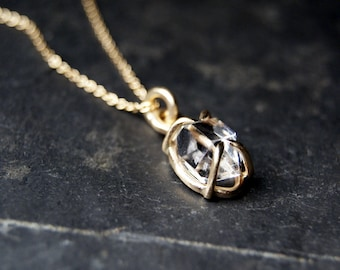 14kt Yellow Gold Herkimer Diamond Necklace, Prong set