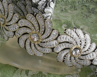 Silver Stitched Floral Trim