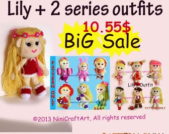 BiG Sale Lily and 2 series outfits S12: Changeable Clothes Crochet Doll and 13 styles Outfits Pattern ( PDF only )