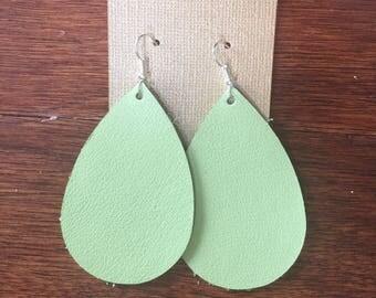 Green Apple leather earrings