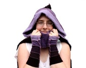 80% OFF BLACK FRIDAY Upcycled purple scoodie, hood, scarf