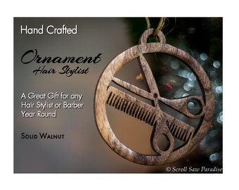 Hair Stylist/ Barber Ornament, A Great Gift Year Round, Handmade from Natural Wood