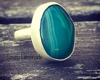 Malachite Agate Sterling Silver Ring / Hand Forged Ring / Boho Wanderlust Jewelry / Gemstone Ring / Statement Ring / Size 7