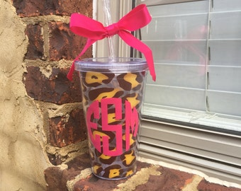 Personalized Acrylic Leopard Tumbler