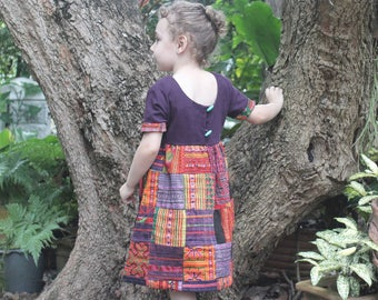 Little Girls Patchwork Hmong Dress Ethnic Embroidery And Natural Cotton, Size 5 / 6  Boho Dress - Delilah FREE Shipping