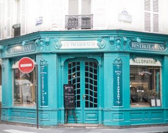 Paris Photograph - La Pharmacie, Paris Cafe Fine Art Photograph, Teal Decor, Large Wall Art, Home Decor