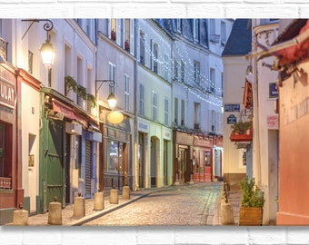 Paris Photograph on Canvas - Rue Norvins at Night on  Paris Architecture, Gallery Wrapped Canvas, French Home Decor, Large Wall Art