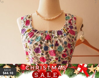 Christmas SALE Floral Vine : Floral Prom Dress, Vintage Inspired, Floral Bridesmaid Dress, Floral Tea Dress White, XS-XL, Custom