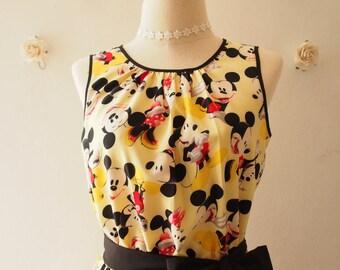 Women Mickey Mouse Dress Pale Yellow Vintage Retro Sundress Gift for Her Yellow Summer Dress Tea Party Dress Disney Dress