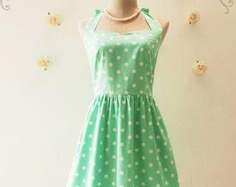 Clearance SALE Polka Dot Bridesmaid Dress Sundress Green Summer Dress Vintage Dress Tea Party Dress Retro Prom Dress