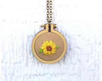 Sunflower Necklace, Sunflowers Embroidery Pendant, 2 inch hoop, Ready to Ship