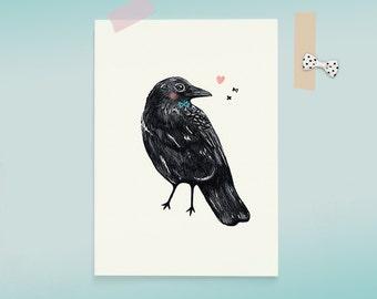 Postcard Crow Bird Illustration - heart and kiss