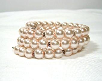 Pink Glass Pearl Memory Wire Bracelet