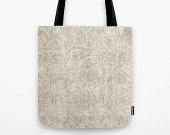 Tote bag - Billowing in old ivory, pink, warm white