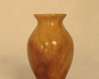 African Limba Burl Turned Wood Miniature Vase