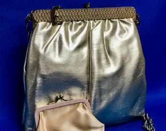 Vintage Gold Lame Purse with Decorative Buckle Frame Matching Coin Purse 70s