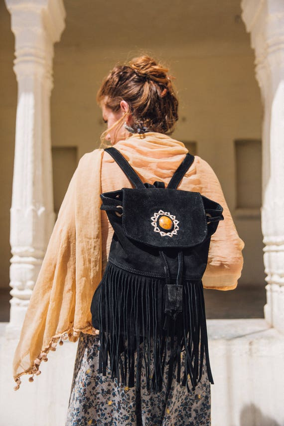 RUBY SPARROW RUCKSACK - Vintage Backpack- Aztec Bag- Tassel bag- Fringe Rucksack- Fringe Bag- Festival Rucksack- Boho- Leather Bag- Crystal