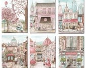 Travel Themed Girl's Bedroom, Personalized, Set Of 6 Fine Art Prints, Vintage Shabby Chic, Paris, NYC, London, Rome, Florence, 6 Sizes
