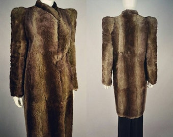 Vintage 40s 1940s Shaved Real Fur Full Length Coat Statement Shoulders S M Vtg Re enactment Ww11