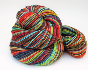 Ready To Ship: Self Striping Fingering Weight Sock Yarn, Wool and Nylon, 20 Color Stripe, Hand Dyed, Let's Dress Crazy